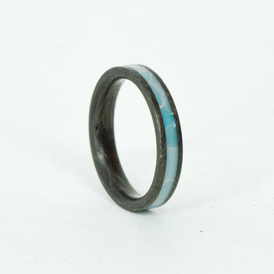 SALE RING - Forged Carbon Fiber & Larimar - Size 7.25