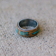 BYU Class Ring in Walnut Wood with Turquoise