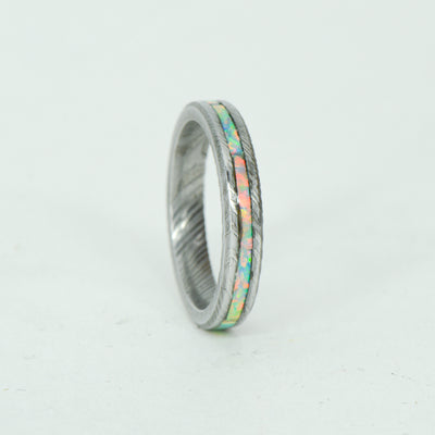 SALE RING - Damascus Steel & White Opal - Size 6