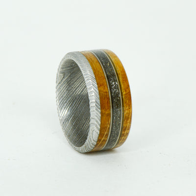 SALE RING -  Damascus Steel, Jack Daniels Wood, Meteorite, Guitar Strings - Size 8