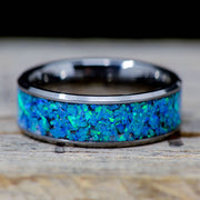 SALE RING - Blue Opal & Tungsten - Size 11.5
