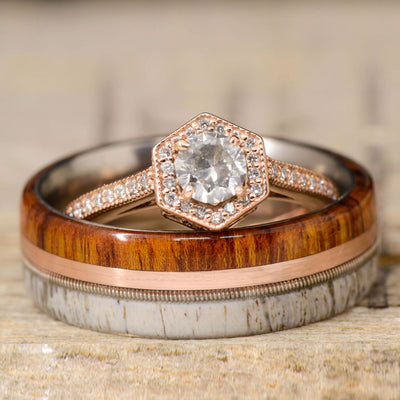 Hexagon Halo Diamond, Ironwood, Rose Gold, Guitar String, & Antler