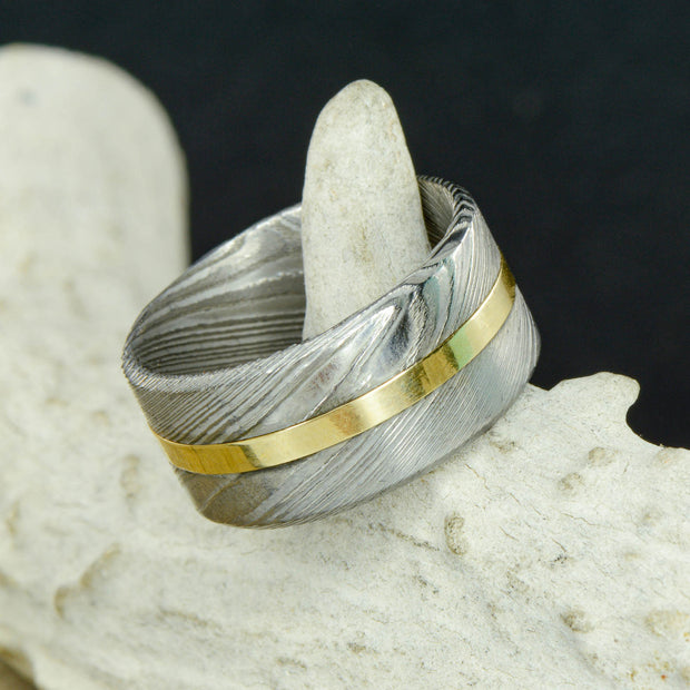 Damascus Steel & Silver or Gold 12mm ***