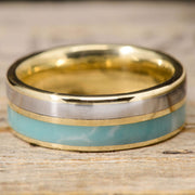 Gold Ring with Titanium & Larimar Stone Inlays ***