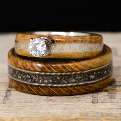 Diamond, Jack Daniels Wood, Meteorite, Antler, & Guitar Strings