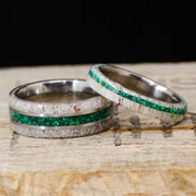 Antler, Green Malachite, & Metal Pinstripes - 8mm & 4mm