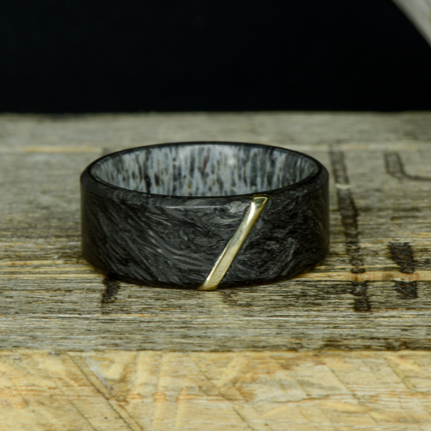 """The Tessera"" - Forged Carbon Fiber, Antler, Yellow Gold Inlay"