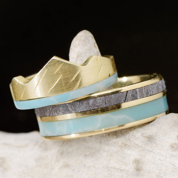 Larimar, Gibeon Meteorite, & Gold Mountain Ring