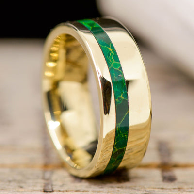 Gold with Arizona Jade Inlay