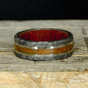 Etched Meteorite, Jack Daniels Barrel Wood, Bloodwood, & White Gold Pinstripes ***