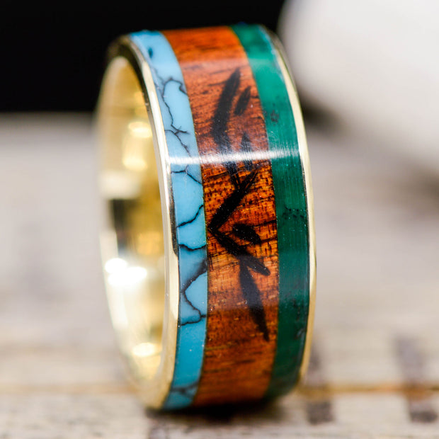 Turquoise, Koa Wood, & Imperial Jade with Engraved Mountains Channel ***