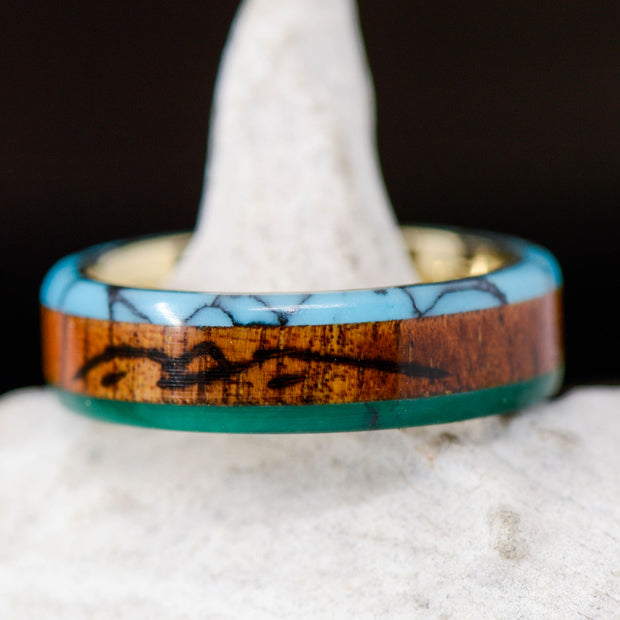 Turquoise, Koa, & Jade with Engraved Mountains