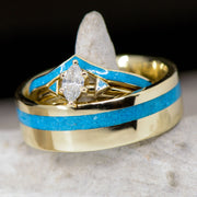 Yellow Gold, Marquise Diamond setting, & Turquoise