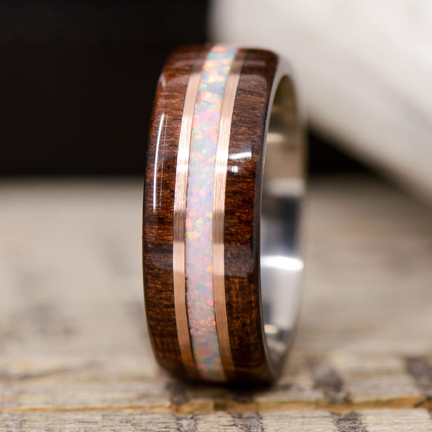 Walnut, White Opal, & Rose Gold Pinstripes ***