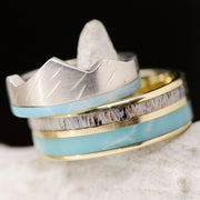 Larimar, Antler, & Gold Mountain Ring