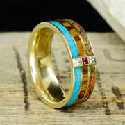 Gold, Turquoise, Ironwood, Black Opal, Diamonds, & Ruby ***