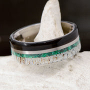 Buffalo Tusk, Metal, Malachite, & Antler ***