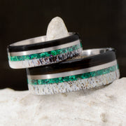 Buffalo Tusk, Metal, Malachite, & Antler