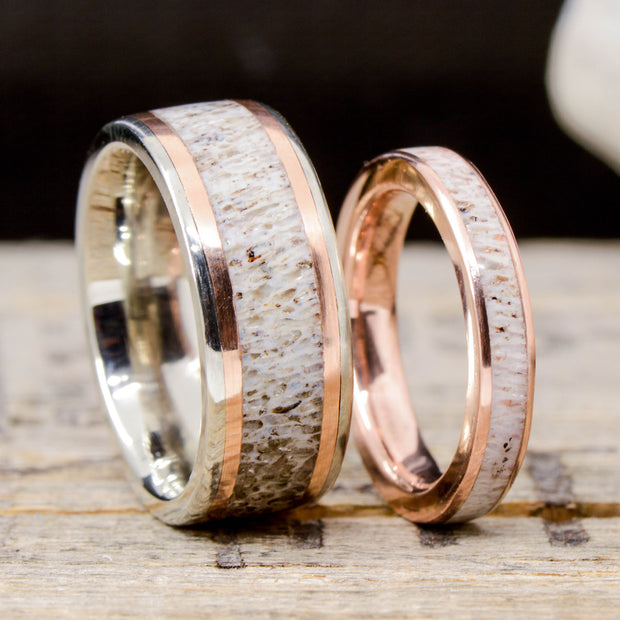 Antler Channel Rings with Rose Gold