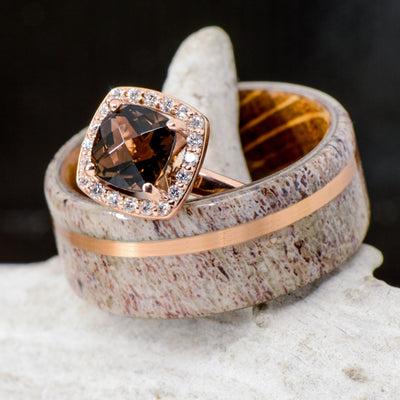 Jack Daniels Wood, Rose Gold, Antler, & Smokey Quartz Halo Ring