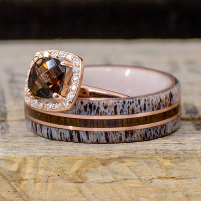 Antler, USS N.C. Warship Teak Wood, Smokey Quartz Halo Ring, & Rose Gold Pinstripes