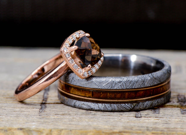 Etched Meteorite, Koa Wood, Guitar Strings, & Smokey Quartz Halo