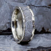 Etched Gibeon Meteorite in White Gold