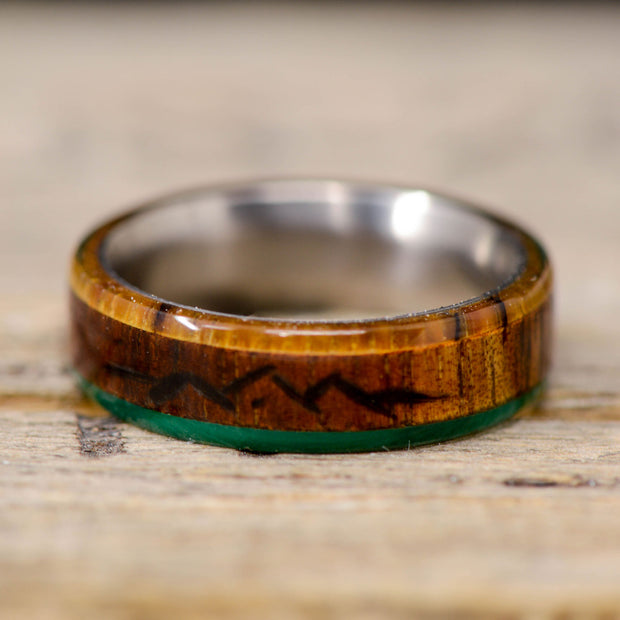 Rosewood, Maple, & Jade with Engraved Mountains