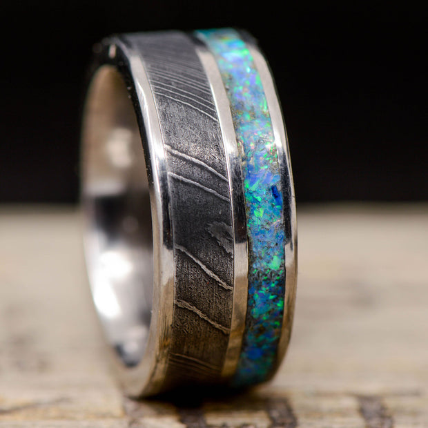 Blue Opal & Damascus Steel in Metal Channel