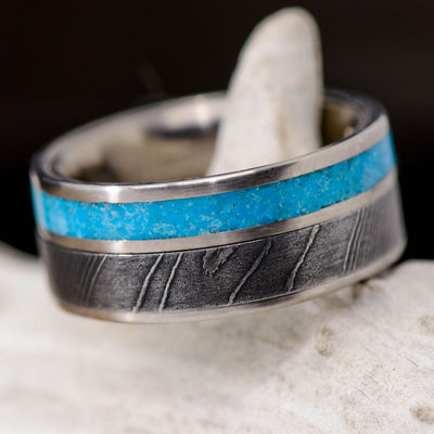 Turquoise & Damascus Steel Channel Ring