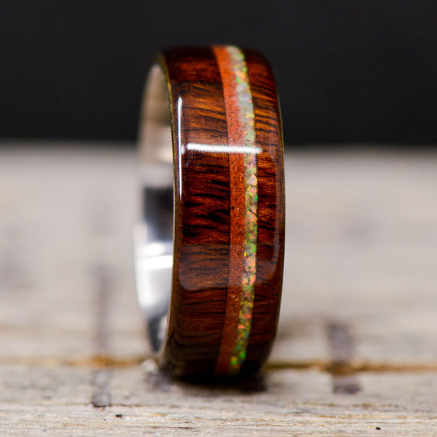 Desert Ironwood with White & Red Opal