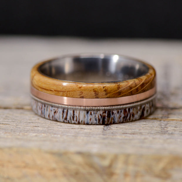 Jack Daniels Barrel Wood, Rose Gold, Guitar String, & Elk Antler