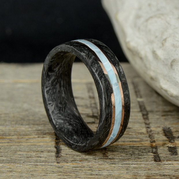 """The Tigre"" - Forged Carbon Fiber, Rose Gold, and Larimar"