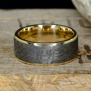 Gold Ring with Etched Gibeon Meteorite ***
