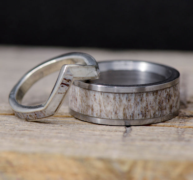 Antler Channel & Gold V-Ring