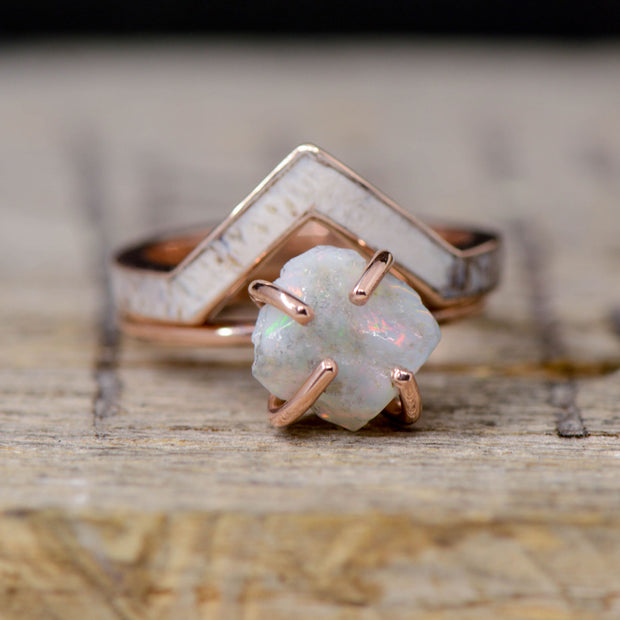 Crushed Opal with Gold, Antler V-Ring Stacking Band