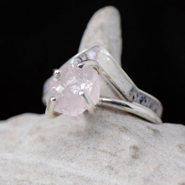 Rough Rose Quartz Solitaire Ring with Gold and Antler V-Ring