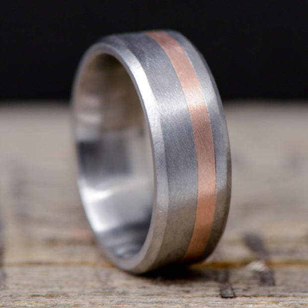 Brushed Titanium with Offset Gold or Silver Pinstripe