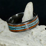 Koa Wood, Turquoise, & Meteorite in Tungsten or Ceramic Channel