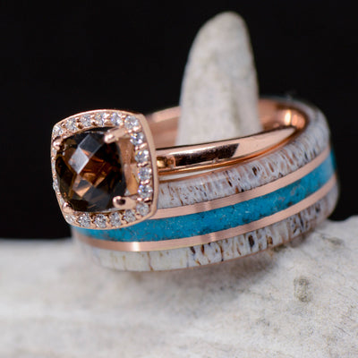Antler, Turquoise, Smokey Quartz, & Rose Gold Pinstripes