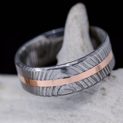 Rose Gold in Damascus Steel 8mm ***