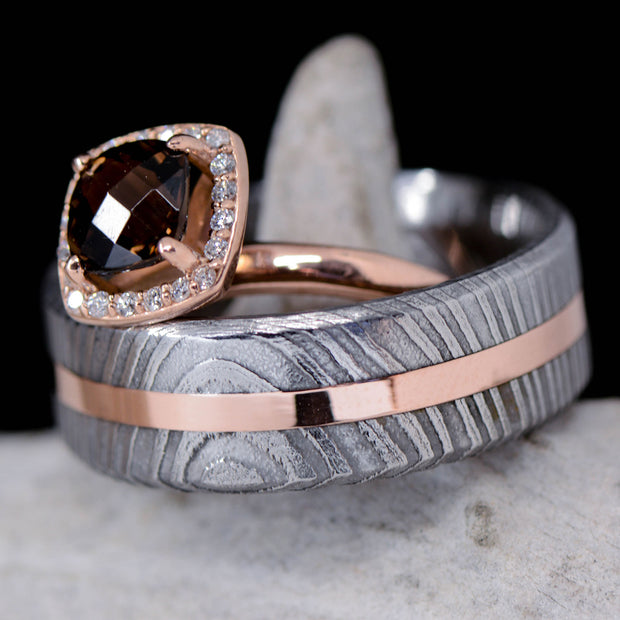 Damascus Steel, Rose Gold, & Smokey Quartz Halo