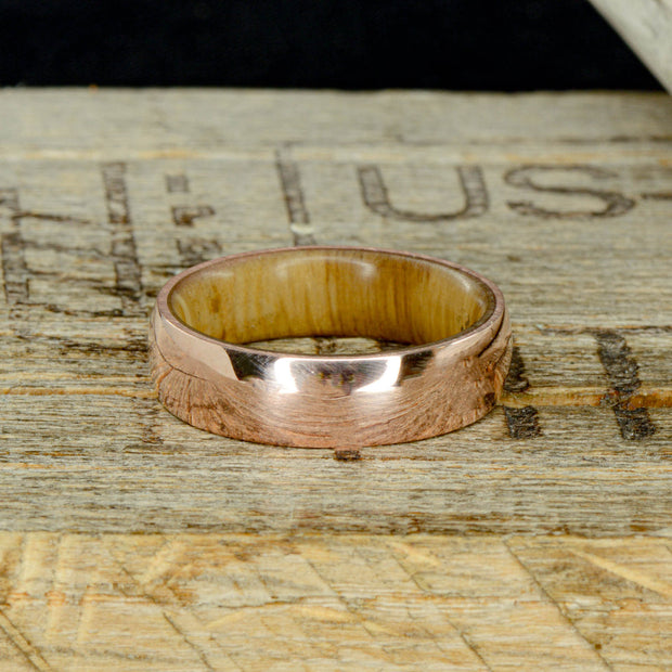 Rose Gold with Oak Wood Inner Band 6mm ***