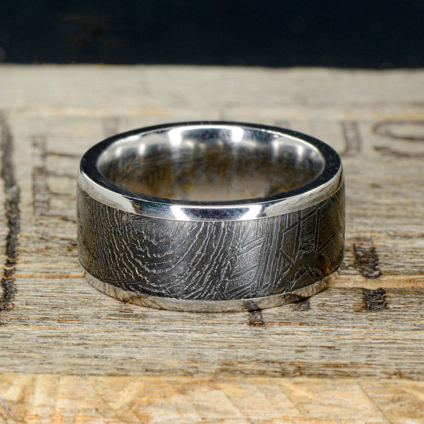 Titanium Ring with Etched Gibeon Meteorite ***