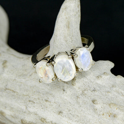 3 Moonstone Oval Engagement Ring