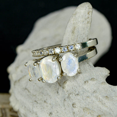 3 Moonstone Oval Engagement Ring & Moonstone Stacking Band