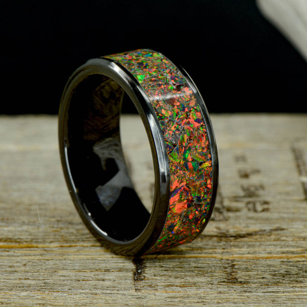 Black Opal in Tungsten or Ceramic Channel