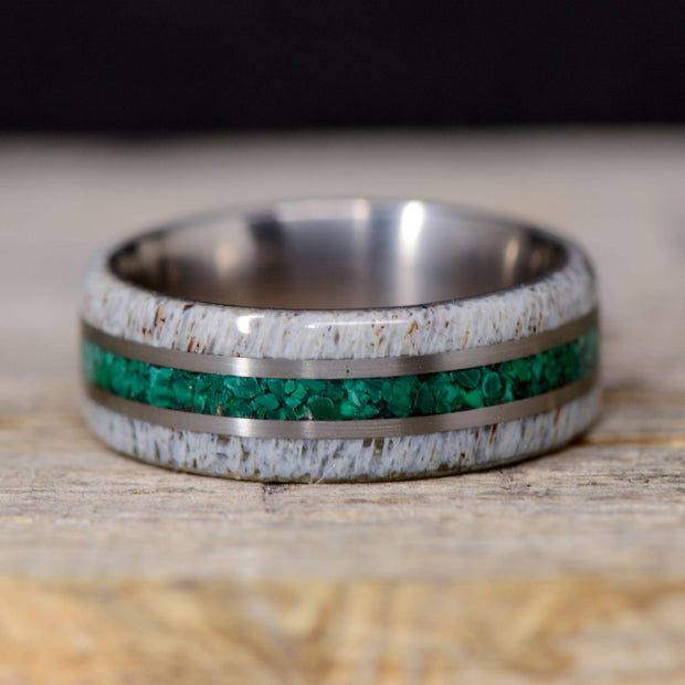 Antler, Malachite Stone, & Metal Pinstripes