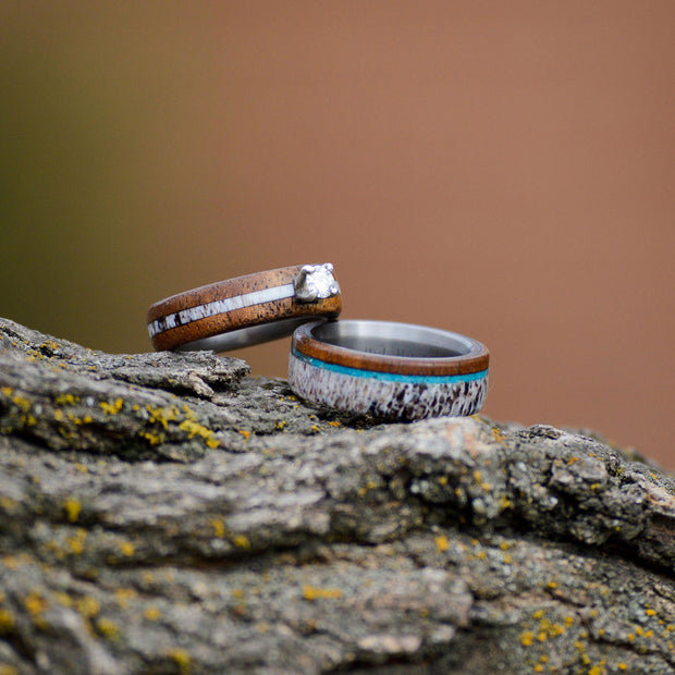 Koa, Turquoise, Antler, & Diamond Ring