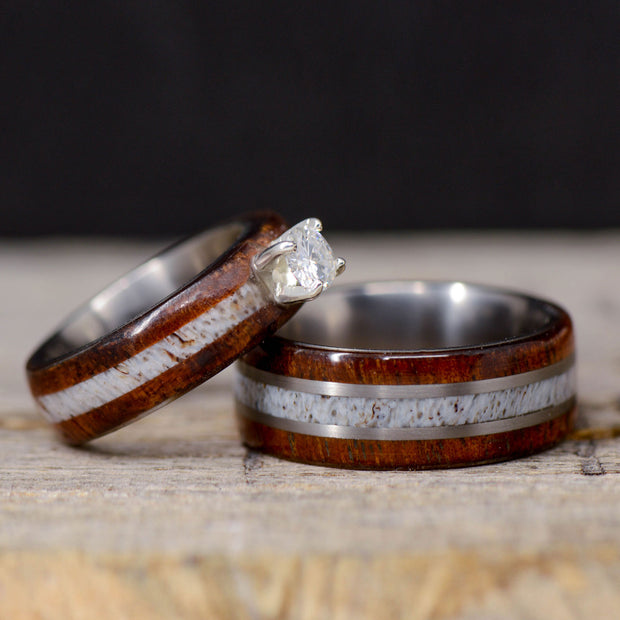 Koa Wood, Antler, & Moissanite